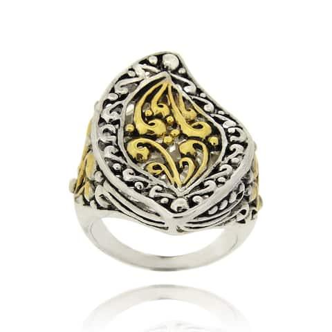 Mondevio Filigree 18-karat Gold/Rhodium Plated Overlay Marquise Wave Ring