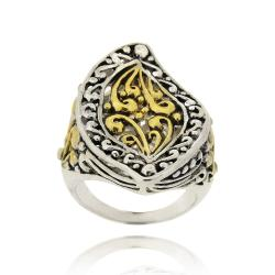 Mondevio Filigree 18-karat Gold/Rhodium Plated Overlay Marquise Wave Ring