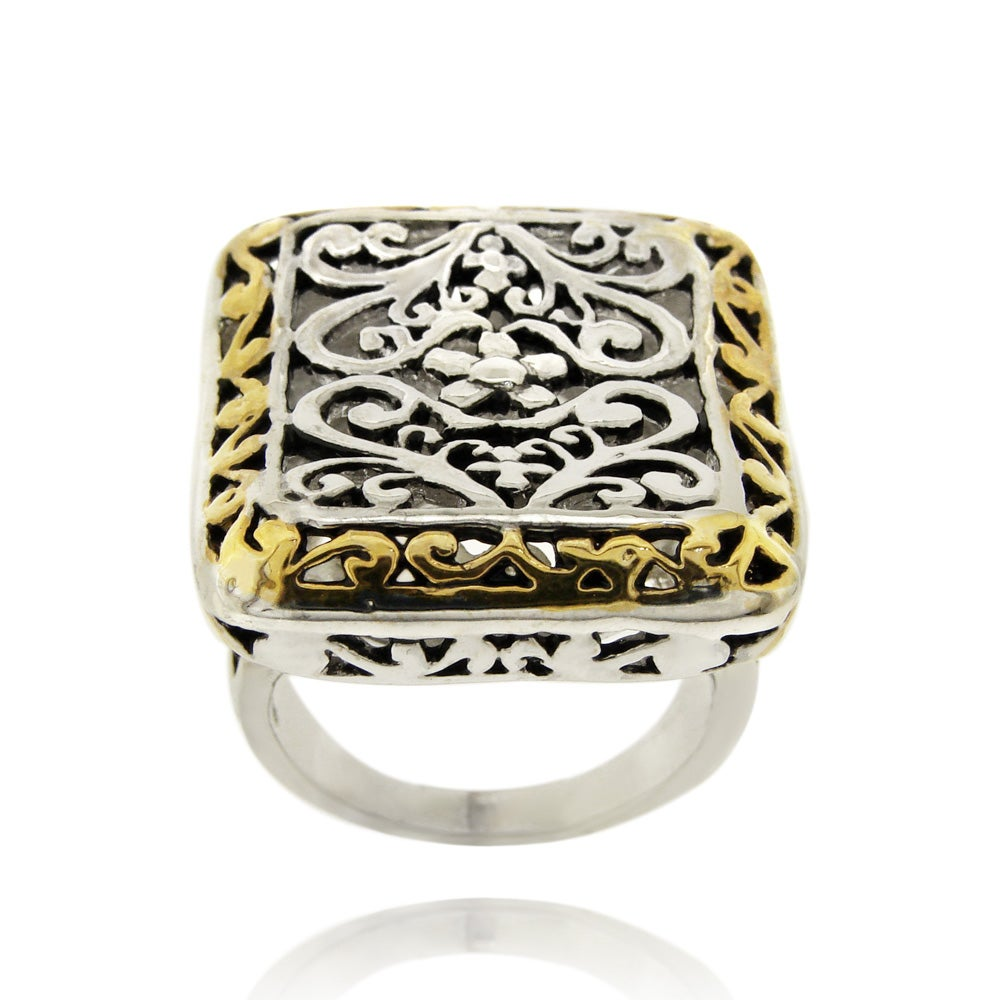 Mondevio 18k Gold Overlay Rectangular Filigree Ring