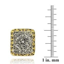 Mondevio 18k Gold Overlay Rectangular Filigree Ring - Thumbnail 2