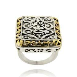 Mondevio 18k Gold Overlay Rectangular Filigree Ring