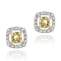 Glitzy Rocks Sterling Silver Citrine and Diamond Accent Square Earrings