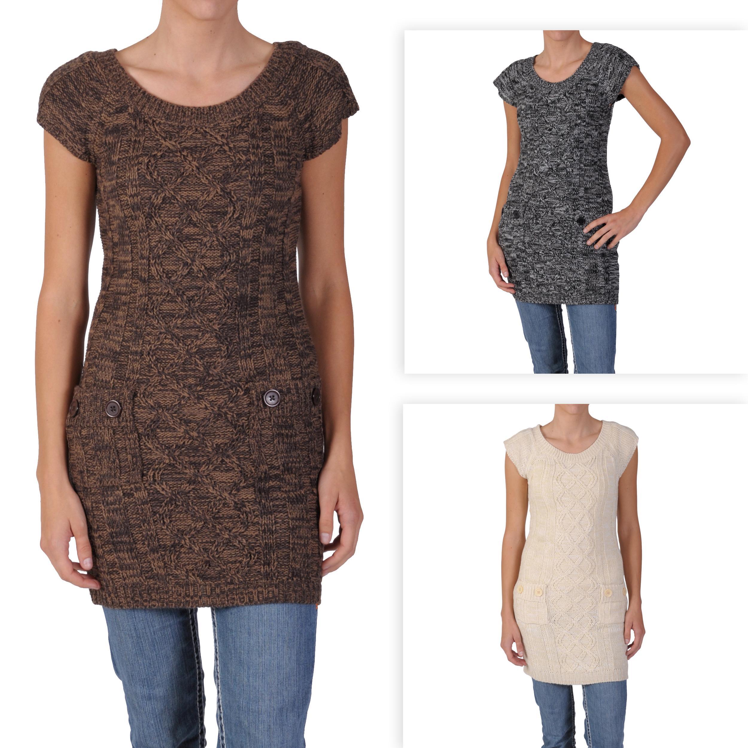 Ci Sono by Adi Junior's Scoop Neck Short-sleeve Sweater Tunic