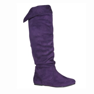 Story Women's 'Cookie' Purple Faux Suede Knee-high Boots