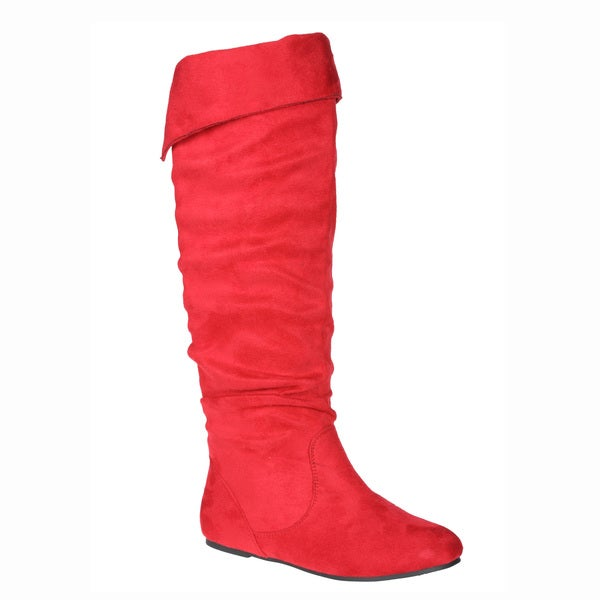 Story Women's 'Cookie' Red Faux Suede Knee-high Boots. Opens flyout.