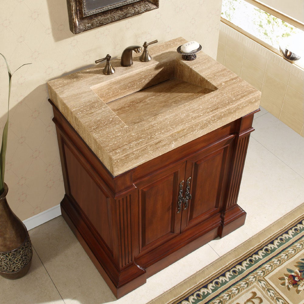 Bathroom Vanity With Cabinet On Top : Silkroad exclusive travertine top inch single sink