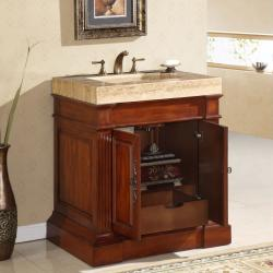 Silkroad Exclusive Travertine Top 33-inch Single Sink Vanity Cabinet