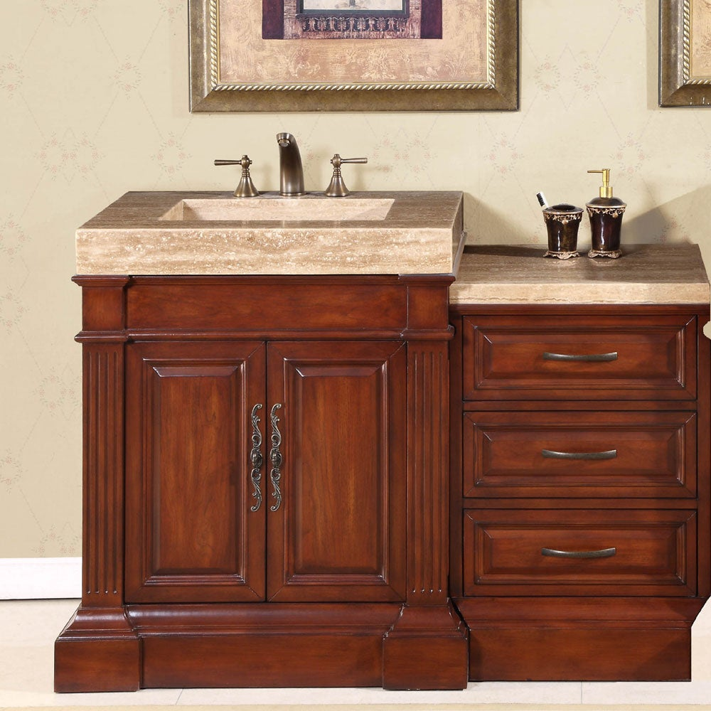 Silkroad exclusive travertine top 51 inch single sink for Vanity top cabinet