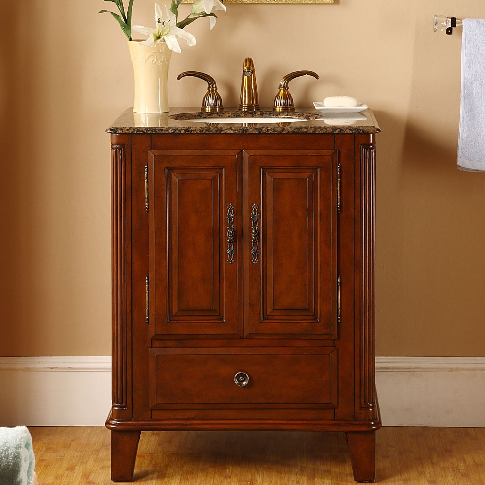 Silkroad Exclusive Granite Top 28-inch Single Sink Vanity Cabinet ...