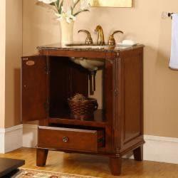 Silkroad Exclusive Granite Top 28-inch Single Sink Vanity Cabinet - Thumbnail 1