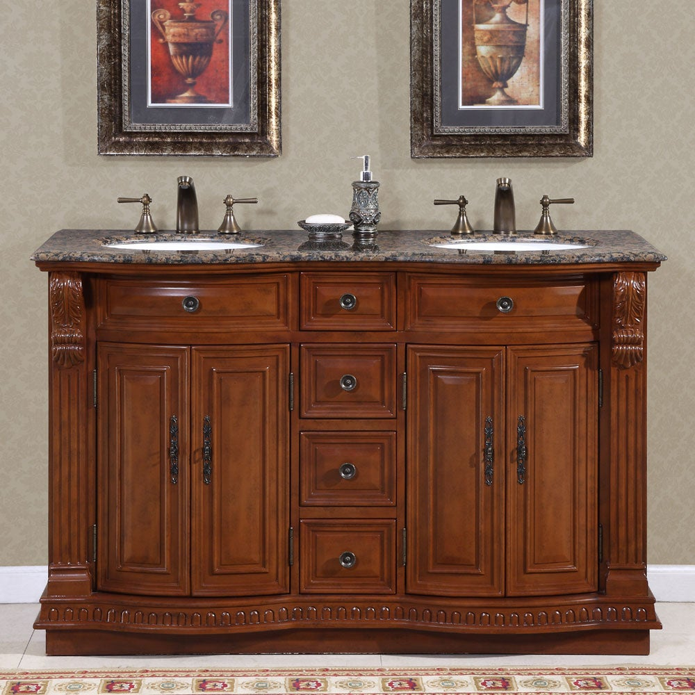 Silkroad Exclusive Granite Top 55-inch Double Sink Vanity Cabinet ...