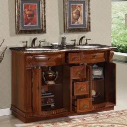 Silkroad Exclusive Granite Top 55-inch Double Sink Vanity Cabinet - Thumbnail 1