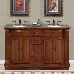 Silkroad Exclusive Granite Top 55-inch Double Sink Vanity Cabinet