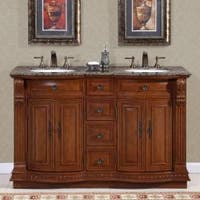 Silkroad Exclusive Granite Top 55-inch Double Sink Vanity Cabinet - White