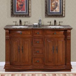 Silkroad Exclusive Granite Top 55-inch Double Sink Vanity Cabinet