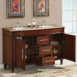 Silkroad Exclusive Travertine Top 55 Inch Double Sink Vanity Cabinet Free S