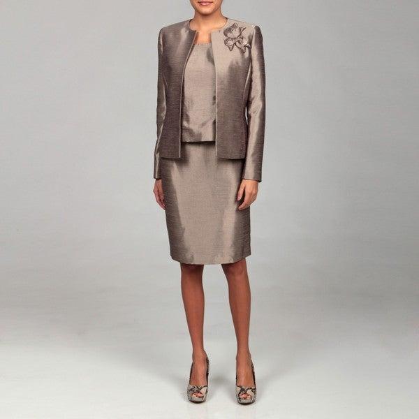 Kasper Women's Silver Bell Three-piece Skirt Suit