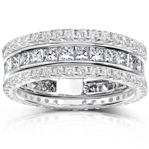 Annello by Kobelli 14k Gold 3ct TDW Diamond 3-piece Stackable Eternity Ring Set (H-I, I1-