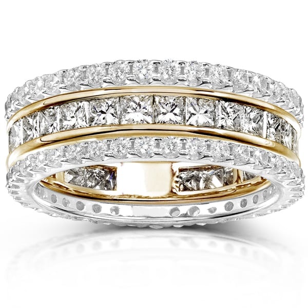 Annello by Kobelli 14k Gold 3ct TDW Diamond Stackable Eternity Band Set (H-I, I1-I2)