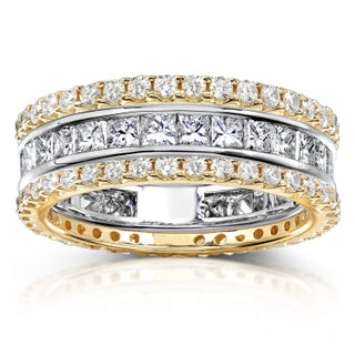 Annello by Kobelli 14k Gold 3ct TDW 3-piece Stackable Eternity Ring Set (More options available)