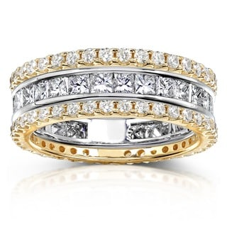 Annello by Kobelli 14k Gold 3ct TDW 3-Piece Stackable Eternity Ring Set (H-I, I1-I2)