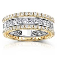 Annello by Kobelli 14k Gold 3ct TDW 3-piece Stackable Eternity Ring Set