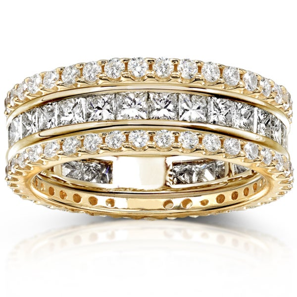 Annello by Kobelli 14k Gold 3ct TDW 3-Piece Stackable Diamond Eternity Ring Set (H-I, I1-