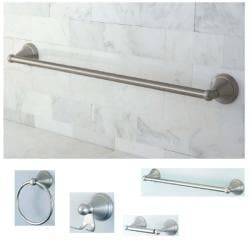 Satin-Nickel Four-Piece Brass Bathroom Accessory Set