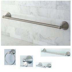 Satin-Nickel Four-Piece Brass Bathroom Accessory Set