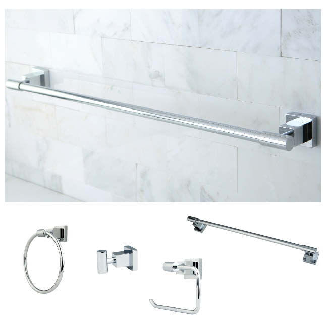 Chrome 4-piece Bathroom Accessory Set - Thumbnail 0