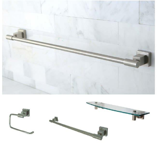 satin nickel three-piece glass shelf and towel bar bathroom