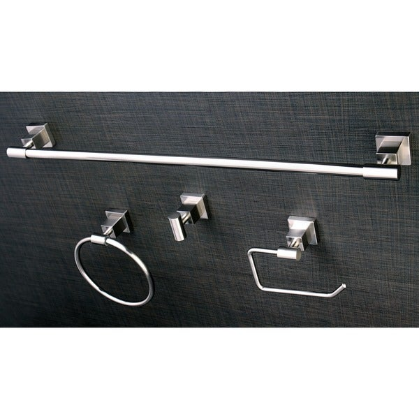 Shop Satin Nickel 4 Piece Bathroom Accessory Set Free Shipping Today 6212996
