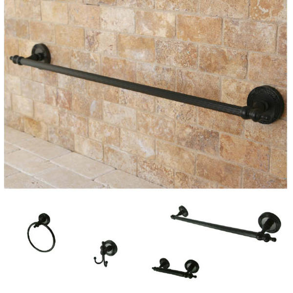 oil rubbed bronze brass four piece bathroom accessory set free