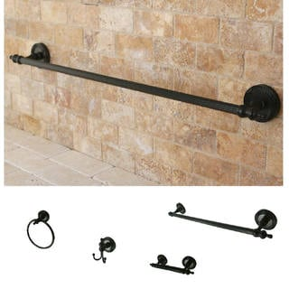 Oil-Rubbed Bronze Brass Four-Piece Bathroom Accessory Set