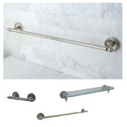 Polished Nickel 3 Piece Shelf And Towel Bar Bathroom Accessory Set