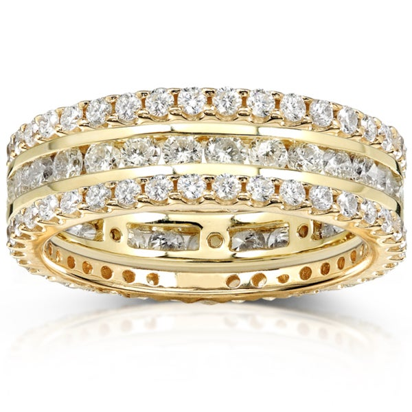 Annello by Kobelli 14k Gold 2ct TDW 3-Piece Stackable Diamond Eternity Ring Set (H-I, I1-