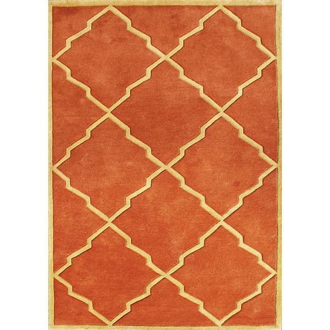 Alliyah Handmade Rust New Zealand Blend Wool Rug 8 X 10