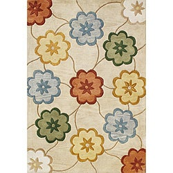 Alliyah Handmade Beige New Zealand Blend Wool Rug  (5' x 8')