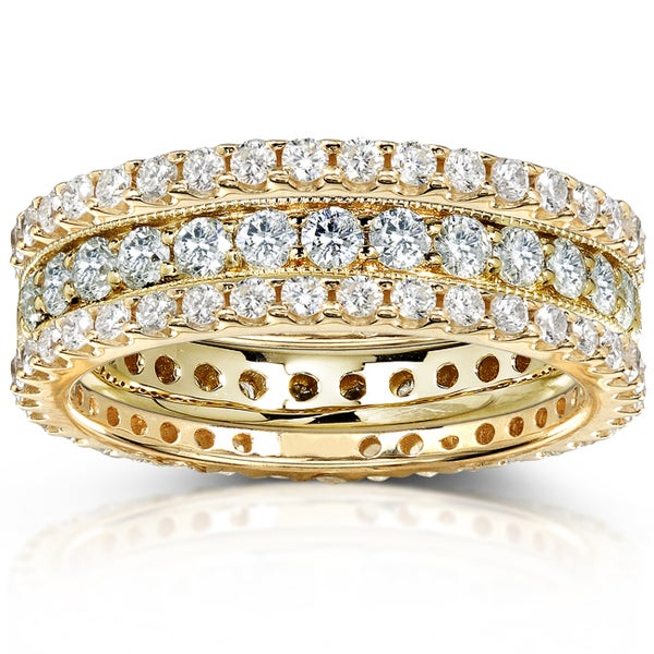 Annello by Kobelli 14k Gold 2ct TDW Diamond 3-piece Stackable Eternity Ring Set (H-I, I1-