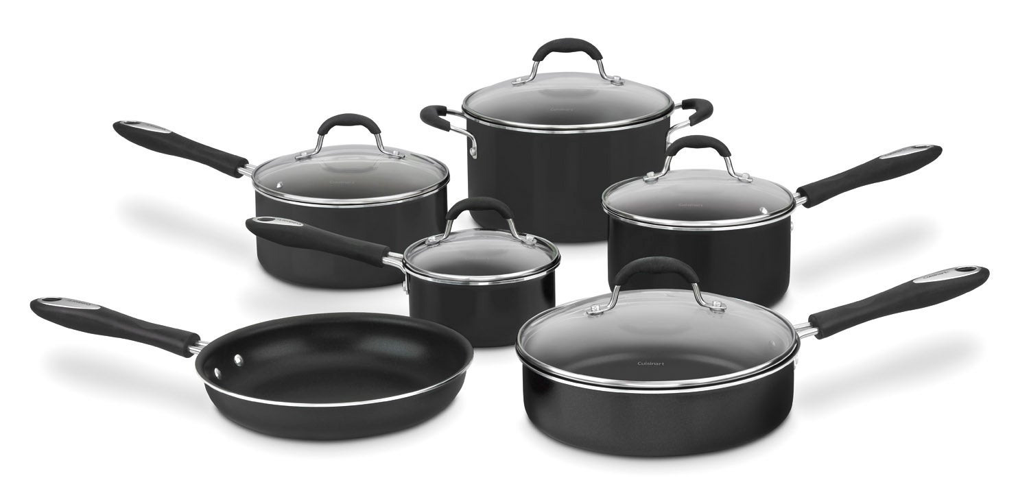 Cuisinart 55 11bk black advantage nonstick 11 piece for Kitchen set aluminium
