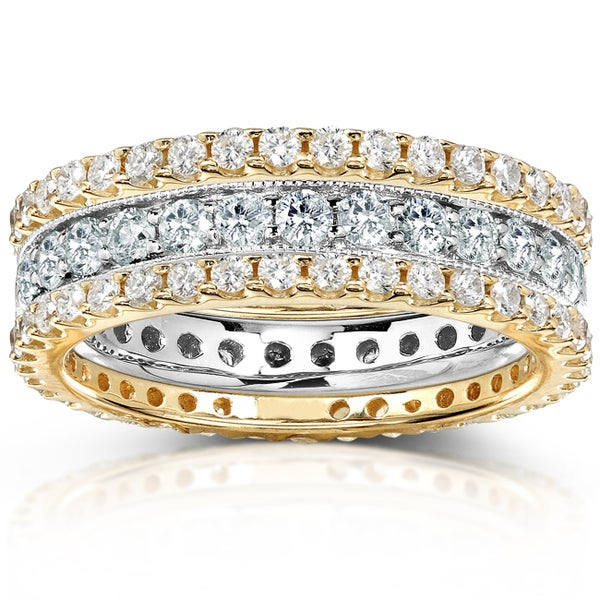 Annello by Kobelli 14k Gold 2ct TDW Round-cut Diamond 3-piece Stackable Eternity Ring Set