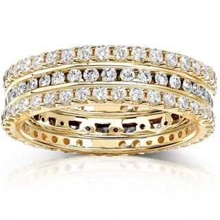 Annello by Kobelli 14k Gold 1 1/2 ct TDW Diamond 3-piece Stackable Eternity Ring Set (H-I