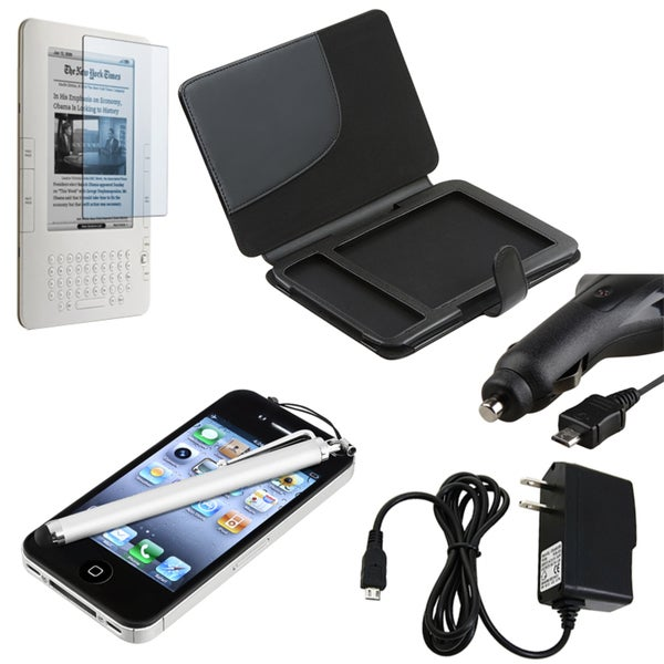 Leather Case/ Screen Protector/ Chargers/ Stylus for Amazon Kindle 3