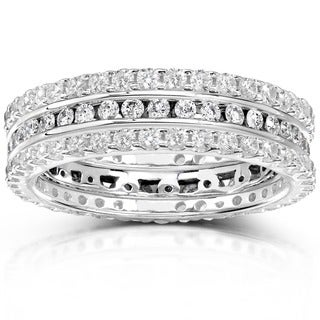 Annello by Kobelli 14k Gold 1 1/2ct TDW Diamond 3-piece Stackable Eternity Ring Set (H-I,