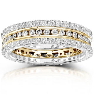 Annello by Kobelli 14k Gold 1 1/2ct TDW Channel/ Prong-set Diamond 3-piece Stackable Eternity Ring S