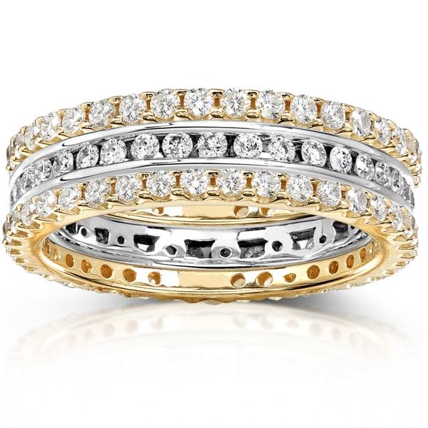 Annello by Kobelli 14k Two-tone Gold 1 1/2ct TDW Channel/ Prong-set Diamond 3-piece Stackable Eterni