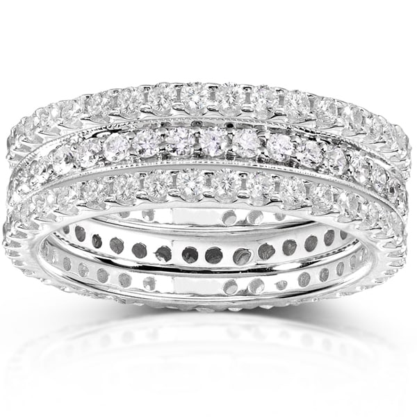 Annello by Kobelli 14k White Gold 1 1/2ct TDW Diamond Stackable Ring Set (H-I, I1-I2)