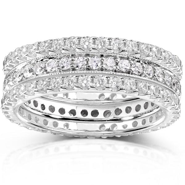 Annello 14k White Gold 1 1/2ct TDW Diamond Stackable Ring Set (H-I, I1-I2)