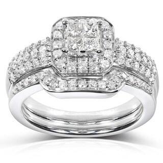 Annello 14k White Gold 5/8ct TDW Diamond Bridal Halo Ring Set