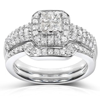 Annello 14k White Gold 5/8ct TDW Diamond Bridal Halo Ring Set (H-I, I1-I2)